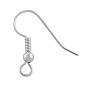 French Hook Ear Wire With Bead 19x18mm Silver Plated (10-Pcs)