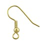 French Hook Ear Wire With Bead 19x18mm Matte Gold Plated (10-Pcs)