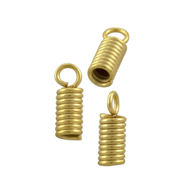 Spring Cord End Cap 10x4mm Matte Gold Plated (10-Pcs)
