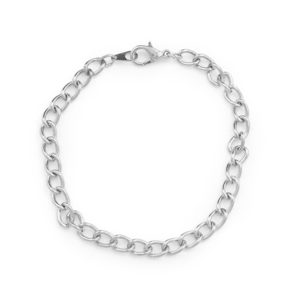 "5mm Curb Link 7-1/4"" Silver Plated Charm Bracelet (1-Pc)"