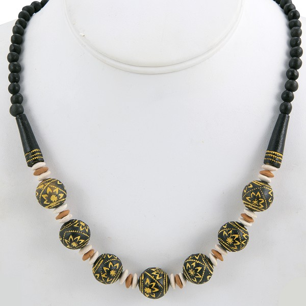 Terra Cotta Clay Bead Necklace Black/Tan/Yellow/White (1-Pc)
