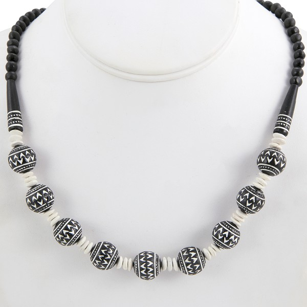 Terra Cotta Clay Bead Necklace Black/White (1-Pc)