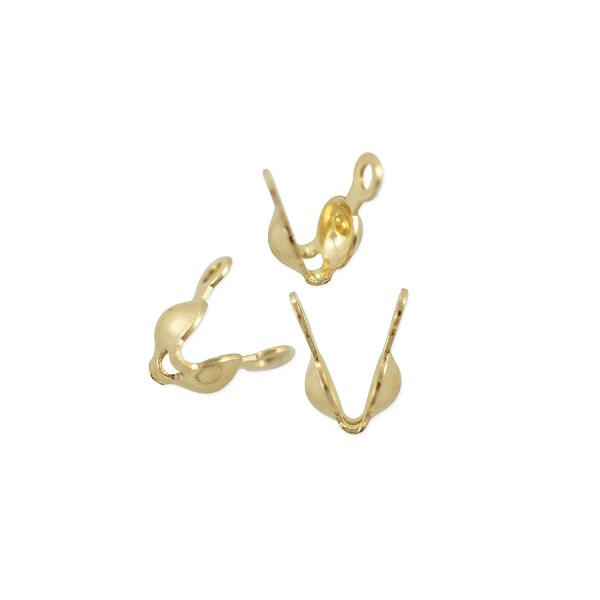Clam Shell Bead Tip with Double Loop 3mm Cup Gold Filled (1-Pc)