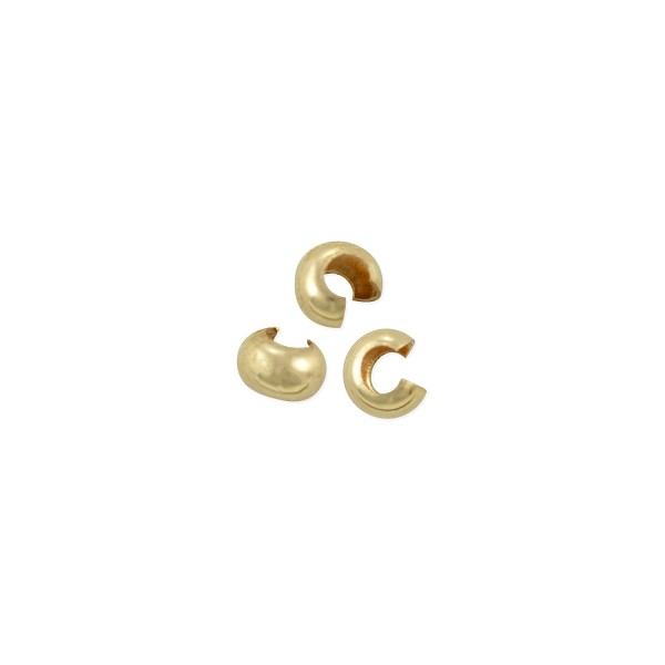 Crimp Bead Cover 3mm Gold Filled (4-Pcs)