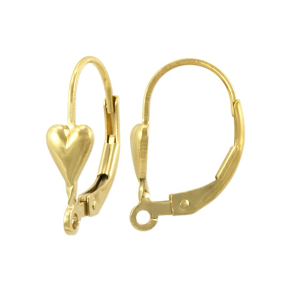 Lever Back Earring with Heart 16x11mm Gold Filled (1-Pc)