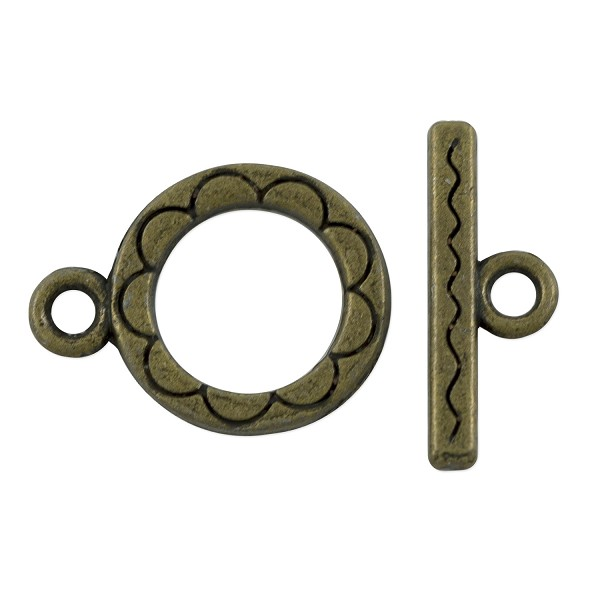 Toggle Clasp 12mm Antique Brass Plated (Set)