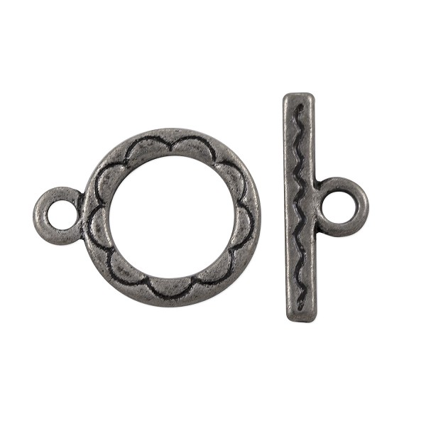 Toggle Clasp 12mm Antique Silver Plated (Set)