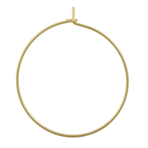 Hoop Ear Wires 30mm Satin Hamilton Gold Plated (2-Pcs)