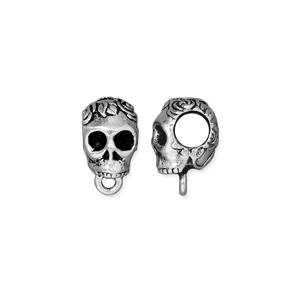TierraCast Skull Bail 13x8mm Pewter Antique Silver Plated (1-Pc)