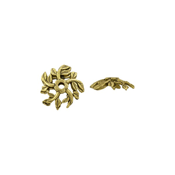 Tree Top Bead Cap 4x12mm Pewter Antique Gold Plated (1-Pc)