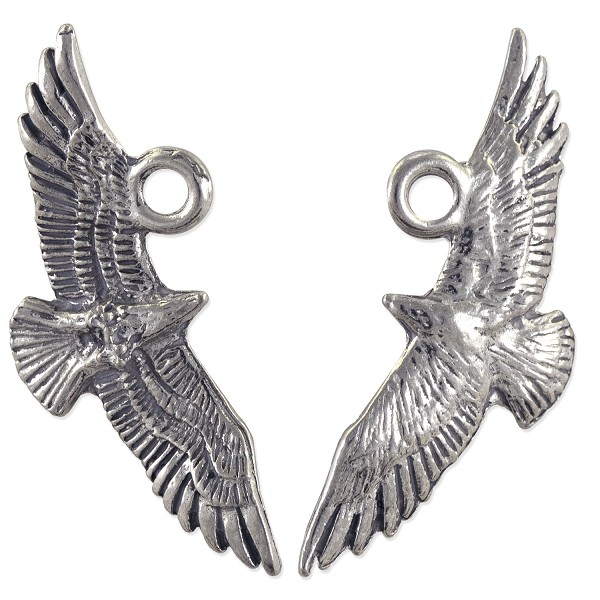 Flying Eagle Pendant 29x12.5mm Pewter Antique Silver Plated (1-Pc)