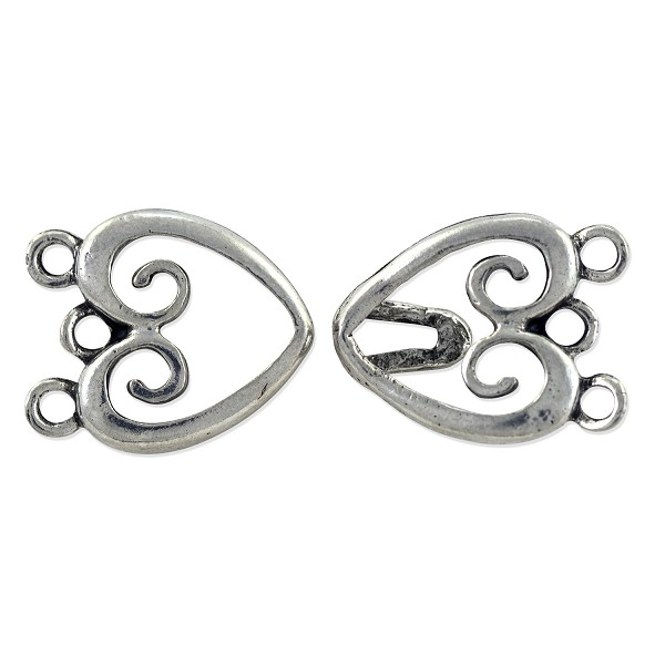 Three-Strand Heart Hook & Eye Clasp 33x15mm Pewter Antique Silver Plated (Set)