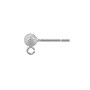 Ball Post Earring Stardust with Open Ring 4mm Sterling Silver (1-Pc)