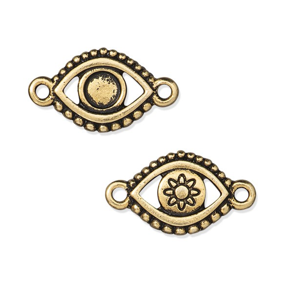 TierraCast Evil Eye Link 11x20mm Pewter Antique Gold Plated (1-Pc)
