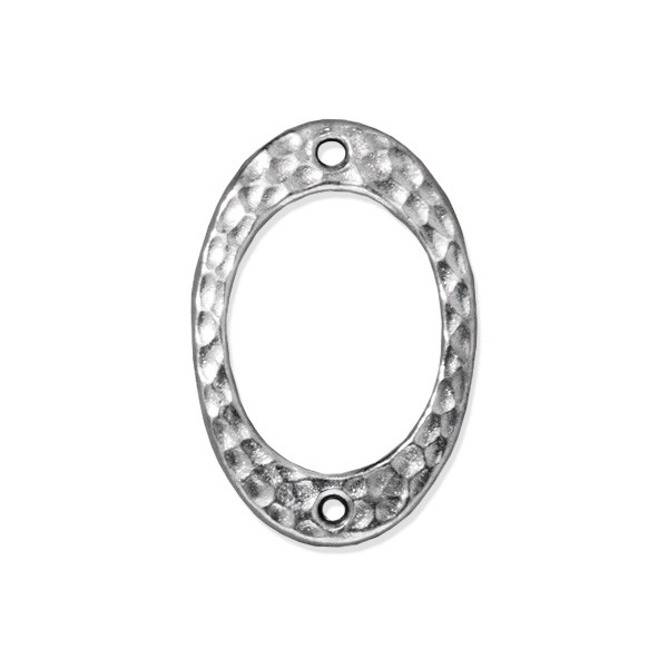 TierraCast Hammertone Drilled Oval Link 24x16mm Pewter Bright Rhodium Plated (1-Pc)