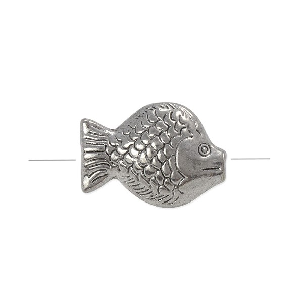 Fish Bead 23x16mm Pewter Antique Silver Plated (1-Pc)