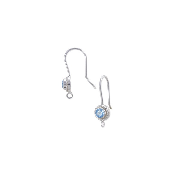 Ear Wire with 4mm Sky Blue Topaz Sterling Silver (1-Pc)
