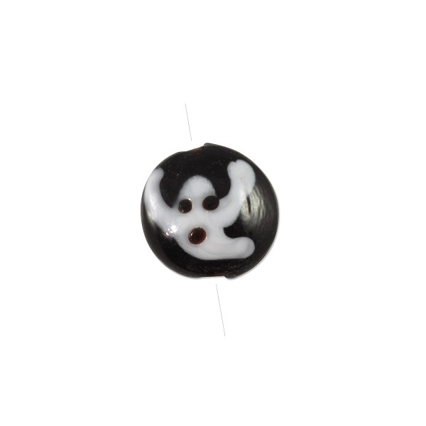 Lampwork Glass Ghost Coin Bead 18x8mm (1-Pc)