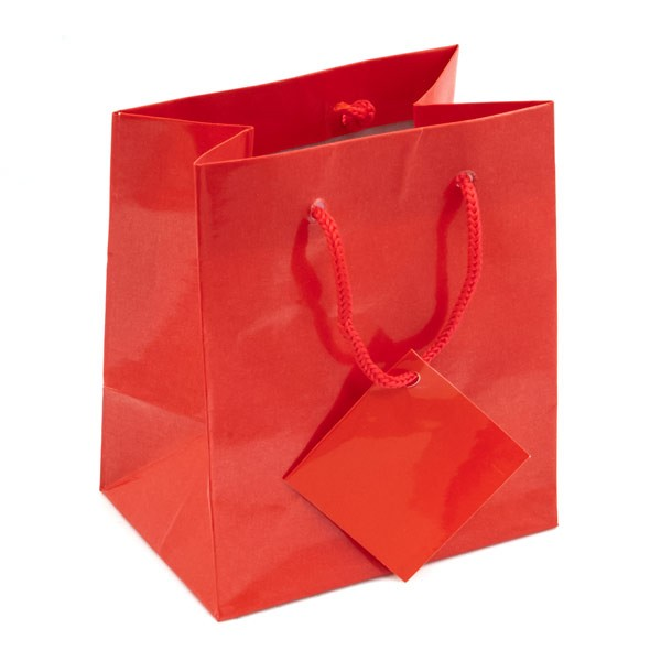 Glossy Red 4x4 Tote Gift Bag (20-Pcs)