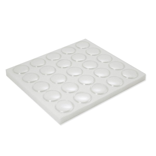 Half Size White Foam 25 Cup Gemstone Jar Tray Insert