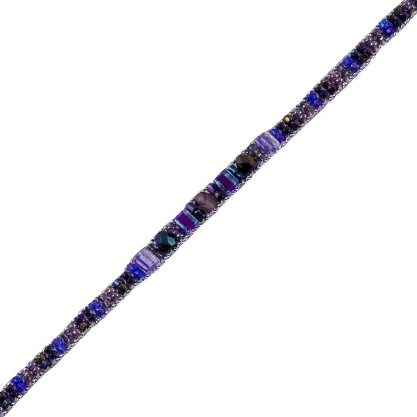 "Mini 9"" Beaded Anklet Pink/Purple/Purple Iris"
