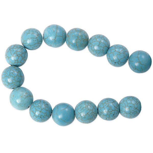 "Dyed Turquoise Howlite 12mm Round Beads (15"" Strand)"