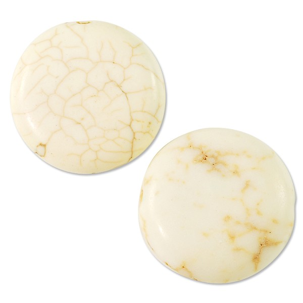 Howlite Disc Beads Ivory 20mm (4-Pcs)