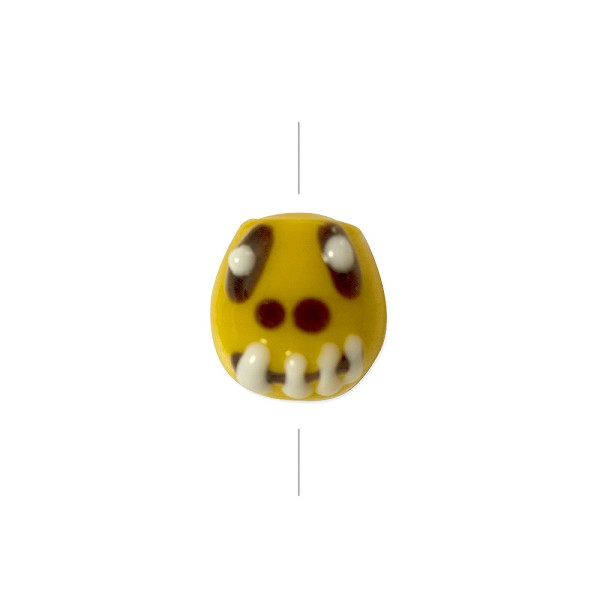 Lampwork Glass Creepy Face Bead 12x14mm Yellow/Brown/White (1-Pc)