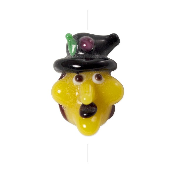 Lampwork Glass Witch Face Bead 15x22mm Yellow/Brown/Black (1-Pc)