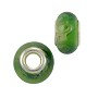 Large Hole Lampwork Glass Bead with Grommet 8x14mm Beige and Green (1-Pc)