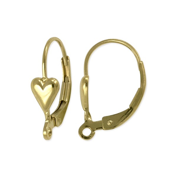 Lever Back with Heart 16mm Gold Filled (1-Pc)