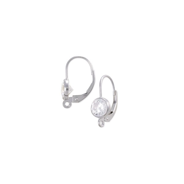 Lever Back Earring with 6mm Cubic Zirconia Sterling Silver (1-Pc)