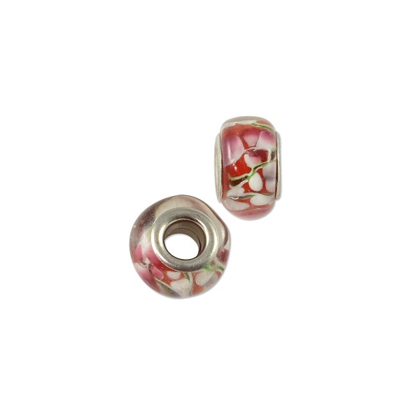 Large Hole Lampwork Glass Bead with Grommet 10x14mm Red/White Flower (1-Pc)