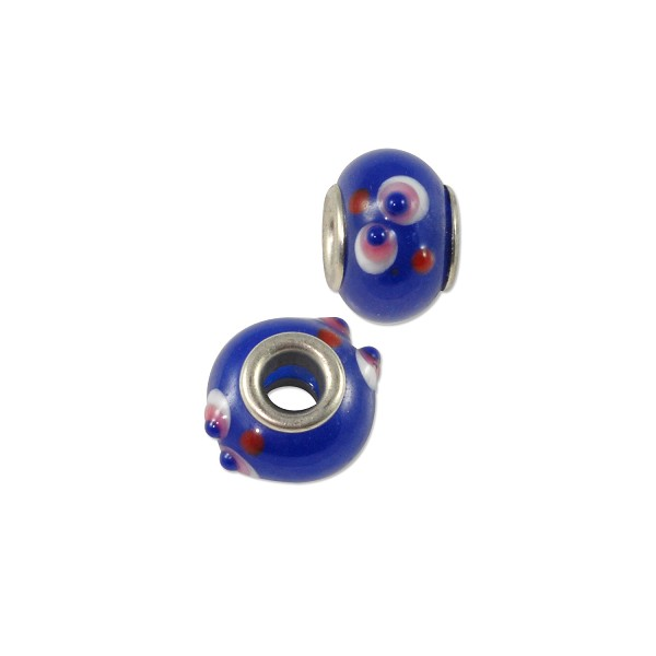 Large Hole Lampwork Glass Bead with Grommet 10x14mm Blue/Red/White Flower (1-Pc)