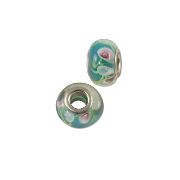 Large Hole Lampwork Glass Bead with Grommet 9x14mm Turquoise/Light Blue Rose (1-Pc)