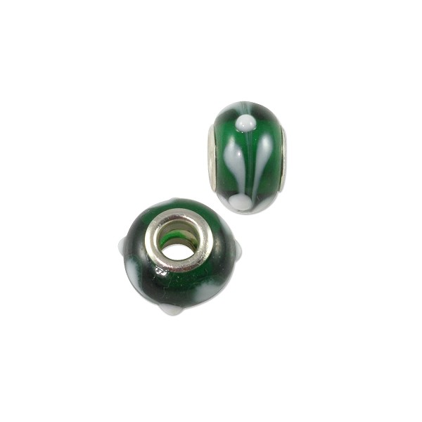 Large Hole Lampwork Glass Bead with Grommet 9x14mm Green/White (1-Pc)