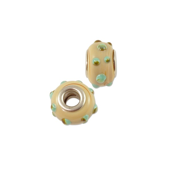 Large Hole Lampwork Glass Bead with Grommet 10x14mm Tan/Green/Black Dots (1-Pc)