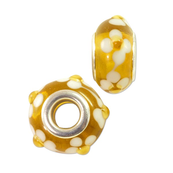 Large Hole Lampwork Glass Bead with Grommet 8x15mm Yellow and White Flowers (1-Pc)