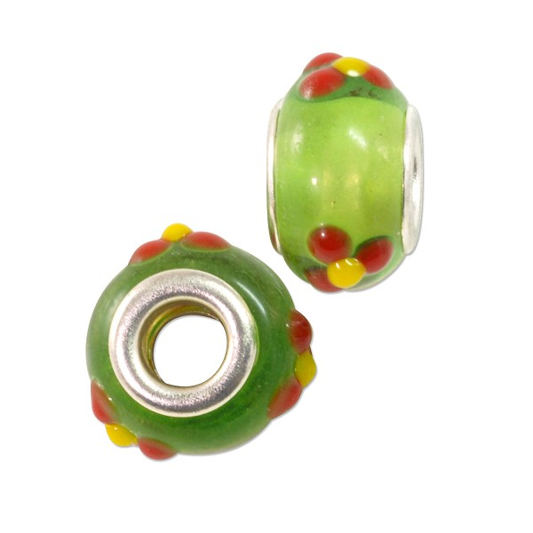 Large Hole Lampwork Glass Bead with Grommet 9x14mm Lime Green with Red Flowers and Yellow Dots (1-Pc)