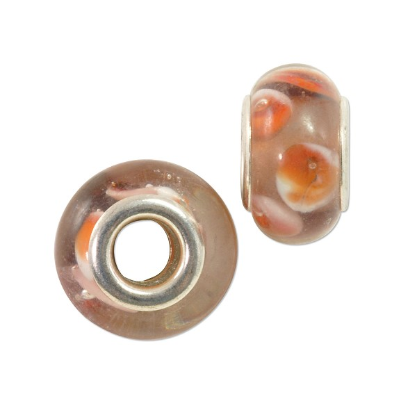 Large Hole Lampwork Glass Bead with Grommet 8x14mm Purple with Orange and White Dots (1-Pc)