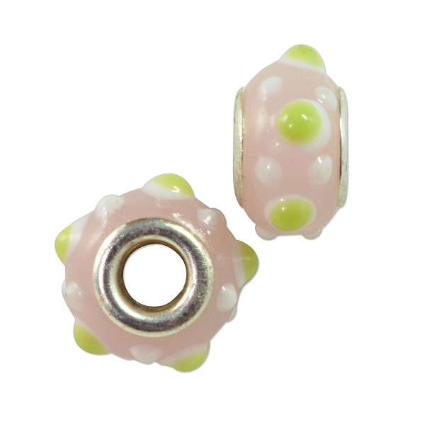 Large Hole Lampwork Glass Bead with Grommet 9x15mm Pink with Lime Green and White Dots (1-Pc)