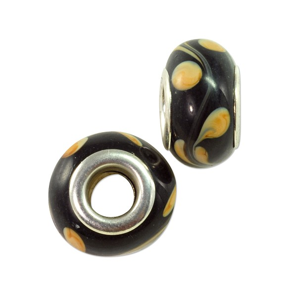 Large Hole Lampwork Glass Bead with Grommet 8x13mm Black with Tan Dots and Swirls (1-Pc)