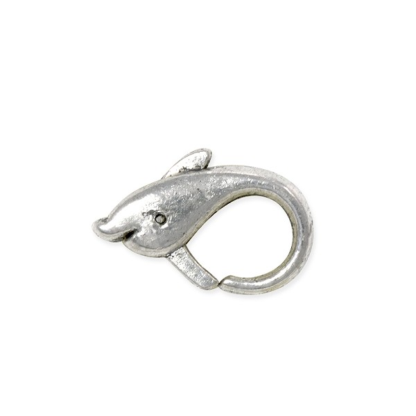 Lobster Claw Clasp - Dolphin 18x12mm Pewter Antique Silver Plated (1-Pc)