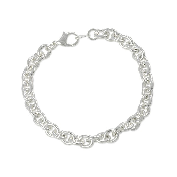 "Charm Bracelet 7mm Medium Cable Link 7-1/4"" Plated Silver Color (1-Pc)"