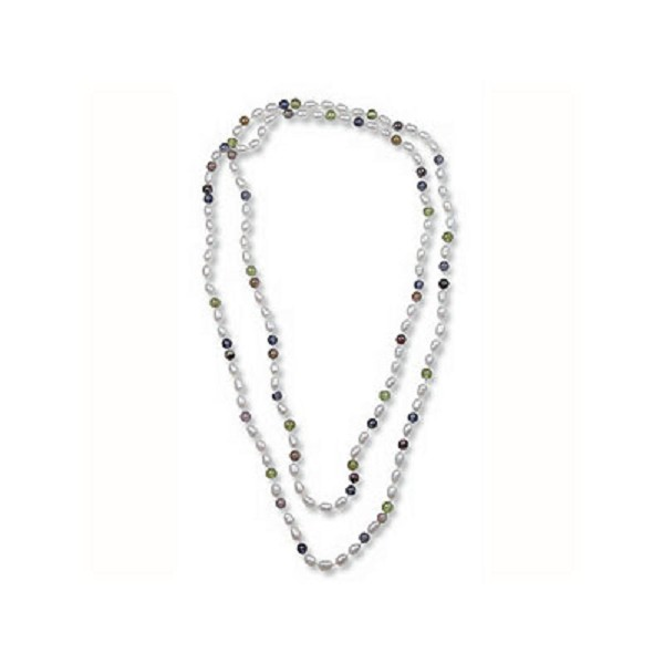 Continuous Pearl and Gemstone Strand Necklace