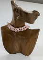 "Necklace Bust and Earring Jewelry Display 9"" Tall Vintage Wood Look"