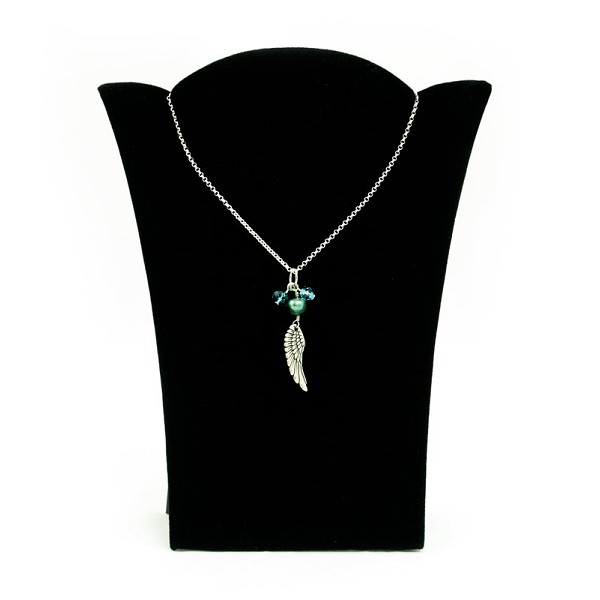 Black Velvet Padded Necklace Display with Easel Stand