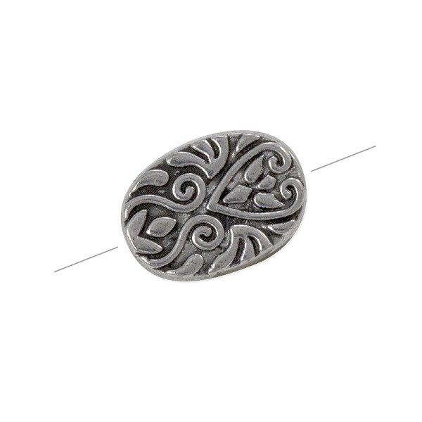 Oval Patterned Bead 16x11mm Pewter Antique Silver Plated (1-Pc)