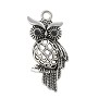 Owl Pendant 44x19mm Pewter Antique Silver Plated (1-Pc)