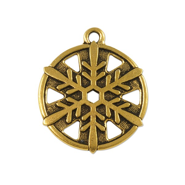 "TierraCast Snowflake Pendant 1"" Pewter Antique Brass Plated (1-Pc)"